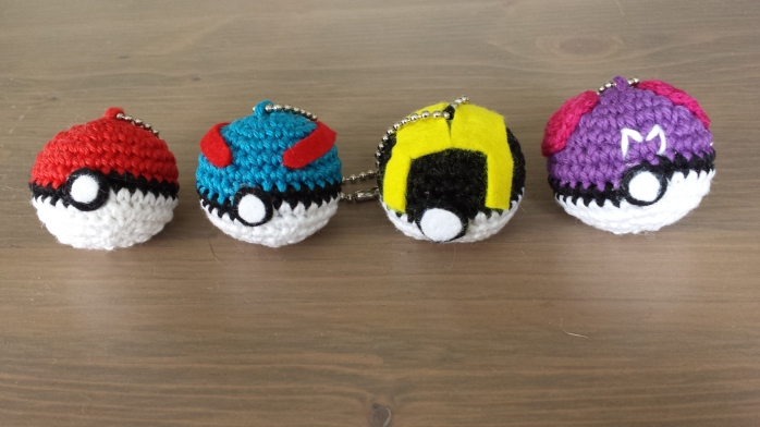 Pokéballs! These are keyrings that I will try to sell :) The ultraball got cancelled by me though, it just wouldn't come out the way I wanted it to